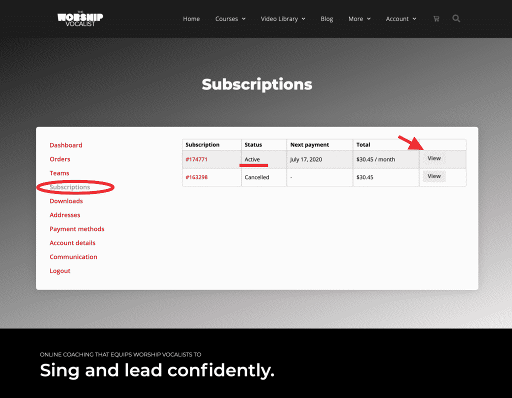 Locate your active subscription in the Subscriptions menu